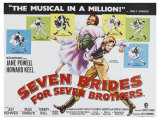 Seven Brides for Seven Brothers, UK Movie Poster, 1954 - Giclee Baskı
