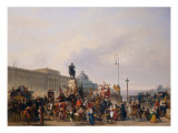 Carnival at Pont Neuf, 1830 Giclee Print by Guillaume Frederic Ronmy