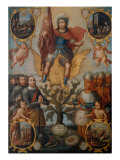 Saint Hippolytus Between Spanish and Aztec Soldiers Giclee Print