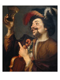 Violin Player with Glass of Wine Lámina giclée por Gerrit van Honthorst