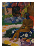 Seated Tahitian Woman and Idol (Vairumati tei oa), 1892 Giclee Print by Paul Gauguin
