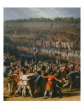 The festival at Champ de Mars July 14, 1790: central panel Giclee Print by Charles Thevenin