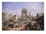 The Market and the Fountain of Innocents, 1822 Giclee Print by John James Chalon