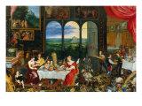 The Five Senses: Taste, Hearing and Touch Impression giclée par Jan Brueghel the Elder