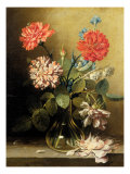 Vase of Flowers with Three Carnations Giclee Print by Ludovico Stern