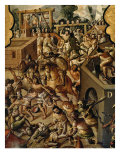 Screen with Scenes of the Spanish Conquest: Battle at Tenochtitlan Giclee Print