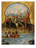 Screen with Scenes of the Spanish Conquest: The Spanish Soldiers at Tenochtitlan 1520 Giclee Print