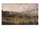 View of Pont Neuf from Place Dauphine with the Parading of King Louis XIV, 1665 Giclee Print