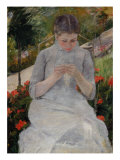 Girl in Garden Giclee Print by Mary Cassatt