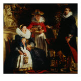 Portrait of the Artist's Family in the Garden Giclee Print by Jacob Jordaens