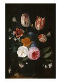 Vase of Flowers with Tulips, Roses and Carnation Giclee Print by Jan van Kessel