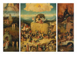 Triptych of the Haywain, Open Giclée-tryk af Hieronymus Bosch