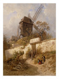 The Moulin of La Galette at Montmartre Giclee Print by Eugene Ciceri