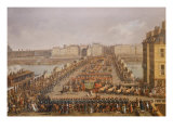 The Imperial Court Crossing the Pont Neuf Towards Notre Dame, 1804 Giclee Print by Jacques Bertaux