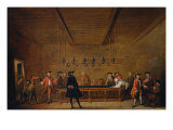 A Room of Game of Billiard at Paris, c. 1725 Giclee Print