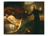 Saint Francis Borgia Tending a Dying Man Giclée-tryk af Francisco de Goya