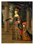 Maria Theresa of Austria, Queen of France, with the Dauphin Impression giclée par Pierre Mignard