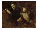 Alphonse Daudet with His Daughter Reproduction procédé giclée par Eugene Carriere