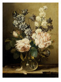 Vase of Flowers with Two Roses Giclee Print by Ludovico Stern