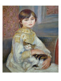 Portrait of Julie Manet or Little Girl with Cat Reproduction procédé giclée par Pierre-Auguste Renoir