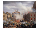 The Burning of Chateau d'eau at Place du Palais Royal, February 24, 1848 Giclee Print by Eugene Hagnauer
