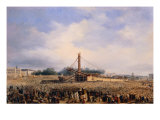 Raising of Obelisk of Luxor in Place de la Concorde on October 25, 1836 Giclee Print by Francois Dubois