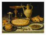 Table with Cakes, Chicken and Olives Giclee Print by Clara Peeters