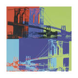 Brooklyn Bridge, c.1983 (Orange, Blue, Lime) Giclee Print by Andy Warhol