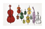 Eleven String Instruments, c.1957 Giclee Print by Andy Warhol