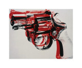 Pistole, ca. 1981-1982 (Schwarz und Rot auf Weiß) Giclée-Druck von Andy Warhol