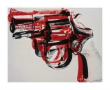 Andy Warhol - Silah, 1981-82 (beyaz üzeri siyah ve kırmızı) - Giclee Baskı