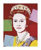 Hallitseva kuningatar: Yhdistyneen kuningaskunnan Kuningatar Elisabeth II, n. 1985, tummat reunat Giclee-vedos tekijänä Andy Warhol