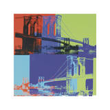 Brooklyn Bridge, ca 1983 (orange, blå, lime) Gicléetryck av Andy Warhol