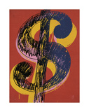 Dollar Sign, c.1981 (black and yellow on red) Giclee Print by Andy Warhol