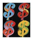 Four Dollar Signs, c.1982 (blue, red, orange, yellow) Giclée-tryk af Andy Warhol
