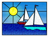 Two Sailboats Face the Sun Giclee Print by Rich LaPenna