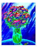 Bouquet of Asters in Vase Giclee Print by Rich LaPenna