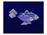 Two Blue and Green Happy Fish Giclee Print by Rich LaPenna