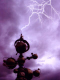 Top of Futuristic Building Meets with Lightning Photographic Print by Abdul Kadir Audah