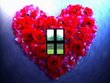 Roses Form Heart Shape with Window Photographic Print by Emiko Aumann
