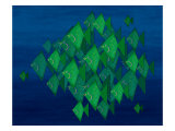 School of Green Triangle Fish on Blue Underwater Background Giclee Print by Rich LaPenna