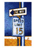 One Way and Speed Limit Sign Giclee Print by Rich LaPenna