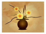 Three Yellow and Red Flowers in Vase with Cattail and Lotus Flower Giclee Print by Rich LaPenna