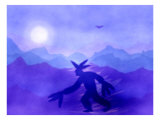 Native American Moving to the Blue Moon Giclee Print by Rich LaPenna