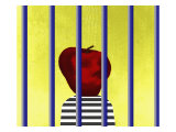 A Single Apple Behind Bars Giclee Print by Rich LaPenna
