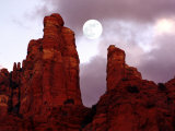 Red Rock with Moon and Sun Photographic Print