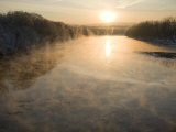 Connecticut River in Montague, Massachusetts at Sunrise on a Frosty Morning Photographic Print by John Nordell