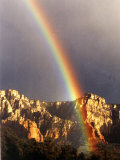 Very Dark Gray Sky, Rainbow over Red Rocks, Sedona, Arizona, USA Photographic Print by Margaret L. Jackson