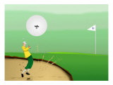 Golfer Strokes Ball Out of Sand Trap Giclee Print by Rich LaPenna