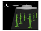 Green Men Space Invaders Giclee Print by Rich LaPenna